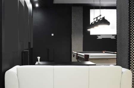 billiards room: brand new and modern billiard interior in night time