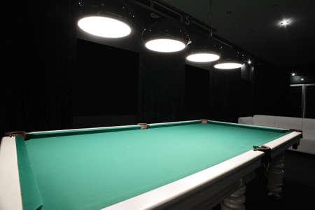 billiards rooms: brand new and modern billiard interior in night time