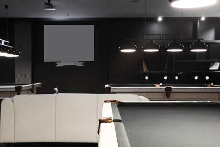 snooker rooms: brand new and modern billiard interior in night time