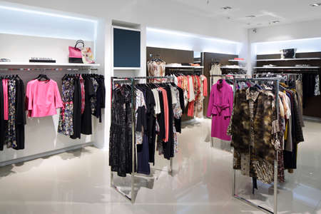 showroom: luxury and fashionable brand new interior of cloth store