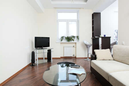 big and bright interior of modern living room 写真素材 - 97240670