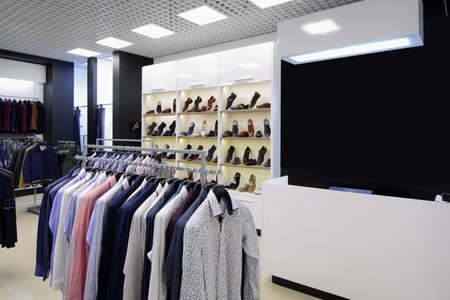 luxury and fashionable brand new interior of cloth store 写真素材 - 97241034