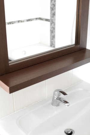 bright interior of brand new bathroom with mirror 写真素材 - 97241269