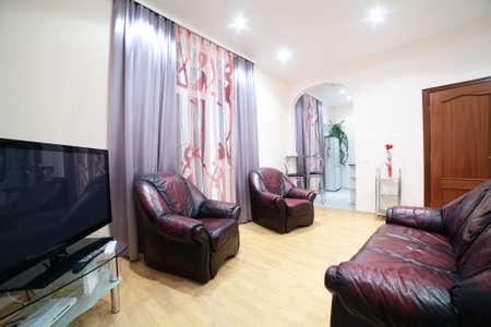 big and bright interior of modern living room 写真素材 - 97241284