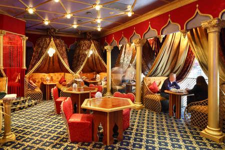 beautiful brand new european restaurant in downtown 写真素材 - 97346501