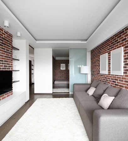 big and bright interior of modern living room 写真素材 - 97346503