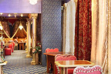 beautiful brand new european restaurant in downtown 写真素材 - 97346539