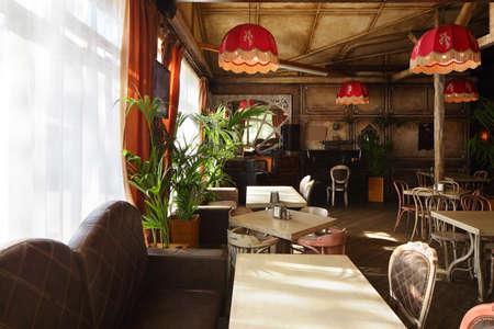 beautiful brand new european restaurant in downtown 写真素材 - 97346540