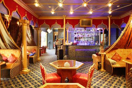 beautiful brand new european restaurant in downtown 写真素材 - 97346542