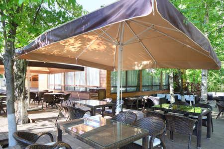 beautiful brand new european restaurant in downtown 写真素材 - 97346551