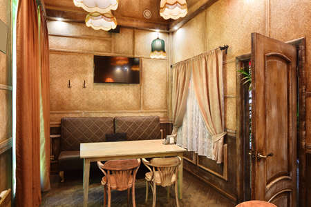 beautiful brand new european restaurant in downtown 写真素材 - 97346558