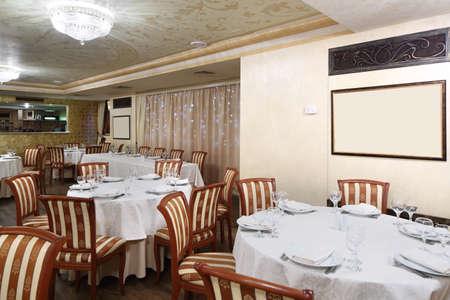 beautiful brand new european restaurant in downtown 写真素材 - 97241610
