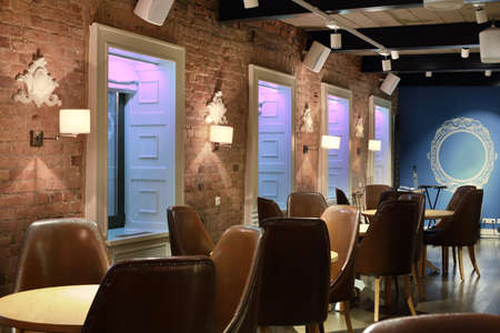 beautiful brand new european restaurant in downtown 写真素材 - 97241611