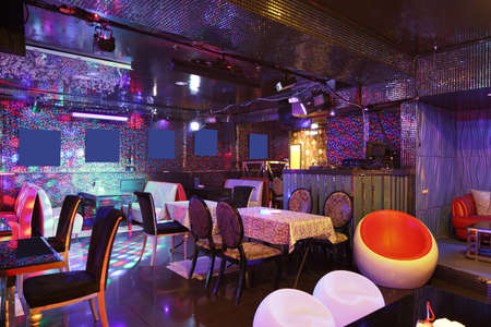 colorful interior of bright and beautiful night club 写真素材 - 97241612