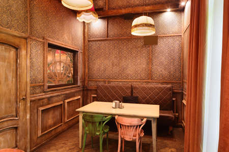 beautiful brand new european restaurant in downtown 写真素材 - 97241619
