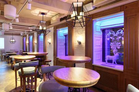 beautiful brand new european restaurant in downtown 写真素材 - 97241632