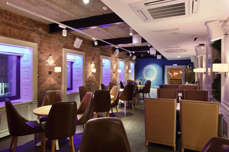 beautiful brand new european restaurant in downtown 写真素材 - 97241674
