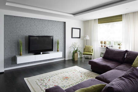 big and bright interior of modern living room 写真素材 - 97241684