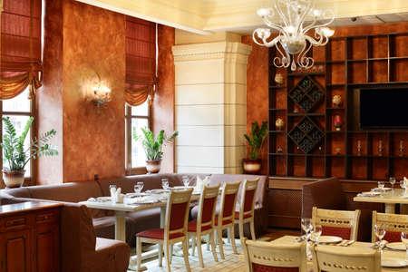 beautiful brand new european restaurant in downtown 写真素材 - 97241685