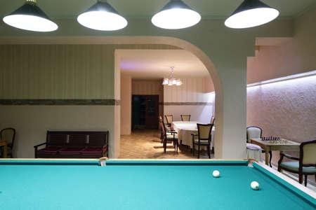 brand new and modern billiard interior in night time