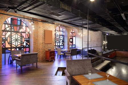 beautiful brand new european restaurant in downtown 写真素材 - 97241689
