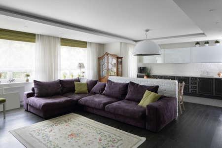 big and bright interior of modern living room 写真素材 - 97346562
