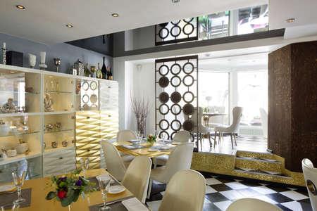 beautiful brand new european restaurant in downtown 写真素材 - 97241761