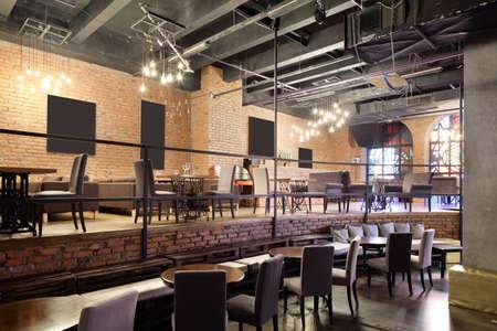 beautiful brand new european restaurant in downtown 写真素材 - 97241828