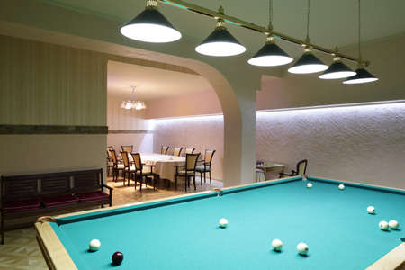 brand new and modern billiard interior in night time 写真素材 - 97241838
