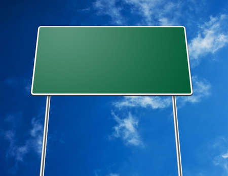 Digital creation of a blank green road sign with clouds in background.
