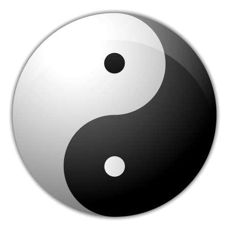 good karma: Digital creation of a yin yang symbol with a light shade.
