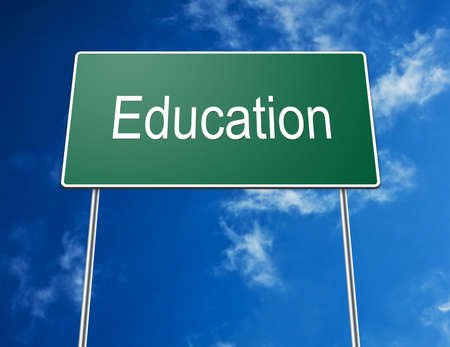 Digital creation of a green road sign with the word education. photo