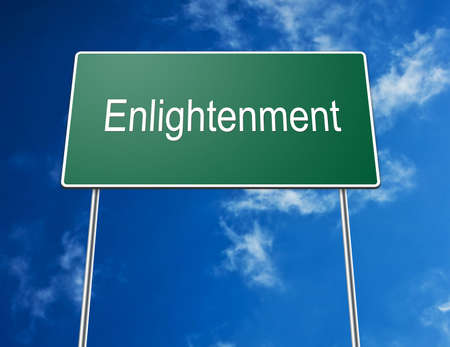 Digital creation of a green road sign with the word Enlightenment photo