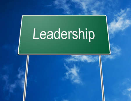 Digital creation of a road sign with the word leadership photo