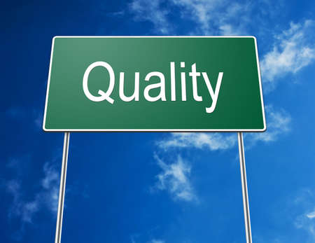 Digital creation of a green road sign with the word quality. photo