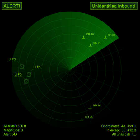 Digital creation of a green radar showing objects. photo
