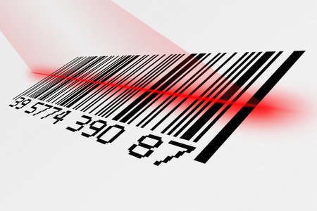 laser tag: Digital creation of a barcode being scanned with laser Stock Photo