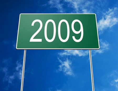 Digital dreation of a road sign showing the year of 2009. photo
