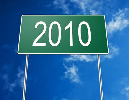 Digital creation of a road sign showing the year of 2010. photo