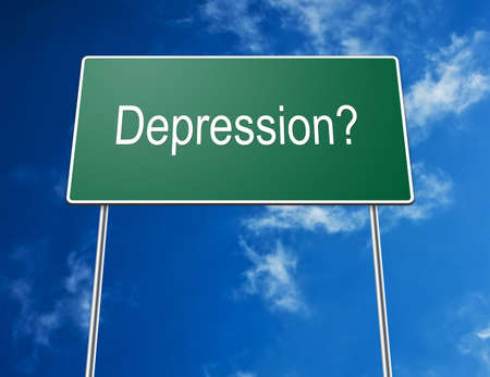 Digital creation of a road sign showing the word depression. photo