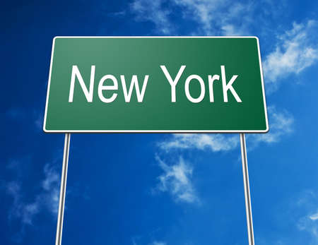 Digital creation of a road sign showing the words New York photo