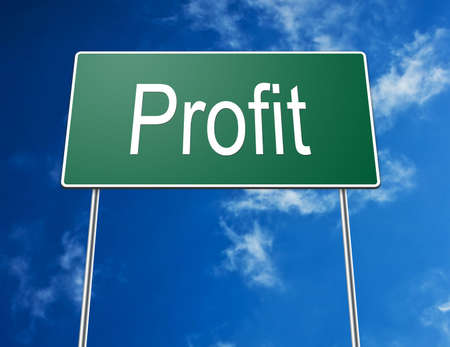 Digital creation of a road sign showing the word profit. photo