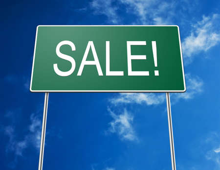 Digital creation of a road sign showing the word SALE! photo