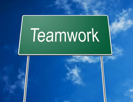 Digital creation of a road sign showing the word teamwork. photo