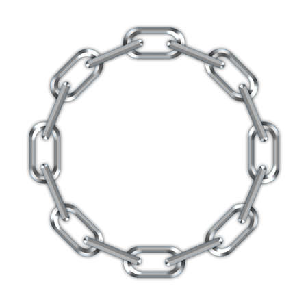 steel bridge: Digital creation of a chain in a ring on a white background.