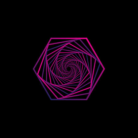 Magenta abstract spiral design. Ready for  icon, template, or just posting on social media. Vector  イラスト・ベクター素材