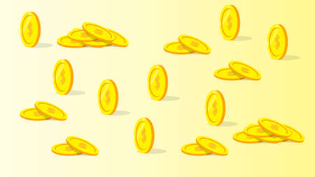 Coins with shiny background gradient. Vector eps 10