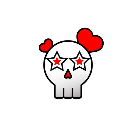 Skull falling in love icon. Abstract. Vector eps.10