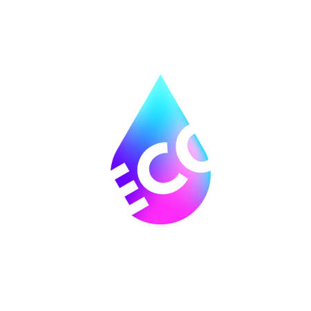 ECO text representing nature environment with colorful drop. Perfect for logo, icon, element poster or banner, template, etc. Additional text can be put in edit menu. Rainbow design. Vector eps.10