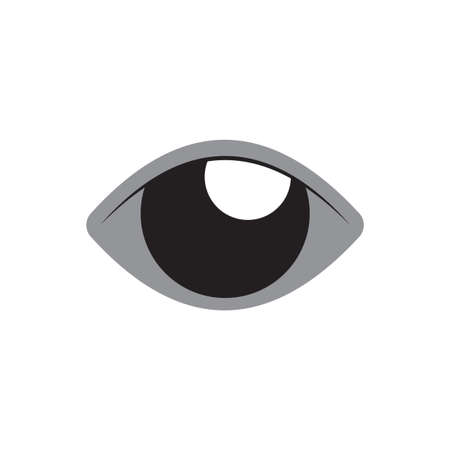 Eye vector flat design with grey color. Color can be changed